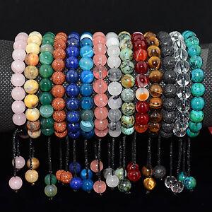 Men Women 8mm Natural Gemstones Braided Macrame Beads Bracelet Adjust Handmade