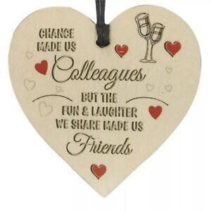 Chance Made Us Colleagues Friendship Wooden Heart Plaque - Fun And Laughter