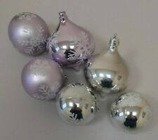 6 Pink and Sliver Snowflake Christmas Tree Baubles