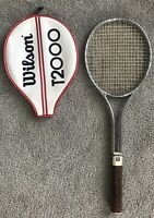 "WILSON T2000 VINTAGE STEEL TENNIS RACQUET, Light 4 3/8"" .. WITH COVER"