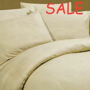 Complete Beddings Set Beige Stripe Choose Sizes 1000 Thread Count Egypt Cotton