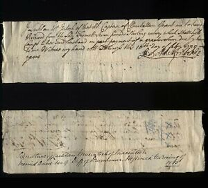 1729 JACOBITE 1715 supporter, Receipt from Lachlan Mackintosh of Clan Chatton