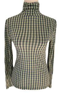 Gorman 50% Merino Wool Green Check Long Sleeve Turtleneck Top Size 6 (REPAIRED)