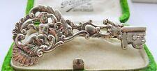 Antique Victorian Silver Symbolic key shaped Sweetheart Brooch 1847 cherub