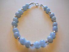 """Aquamarine Sterling Silver Bracelet - 7 1/2"""""""