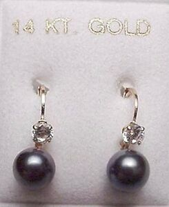 New 14kt White Gold 6 mm Black Pearl w/Dia EURO Earrings-Free Shipping
