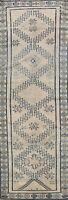 Muted Semi-Antique Geometric Authentic Oushak Turkish Runner Rug Handmade 3'x9'