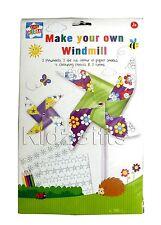 Fai la tua propria Mulino A Vento Girandola Bambini Creativo LIBRO DA COLORARE MATITE Craft Kit