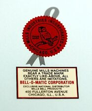 BELL-O-MATIC, MILLS NOVELTY CO LOGO, WATER SLIDE DECAL # DS 1074