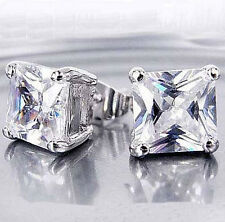 Womens Earrings18K White Gold Plated Rhinestone Crystal Square Studed Earrings