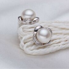 Freshwater Pearl Silver Earrings 925 Silver White Ivory Pearl Stud Bridal Studs