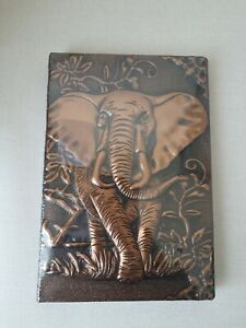 A5 PU LEATHER 3D ELEPHANT EMBOSSED HARDBACK NOTEBOOK/JOURNAL BRONZE NEW & SEALED