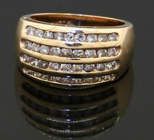 14K yellow gold 1.08CT diamond 4-row cluster cocktail ring size 6