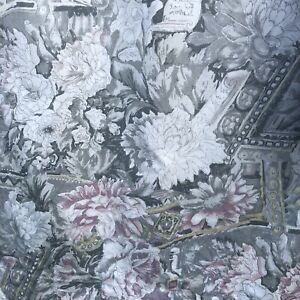 """Vintage Curtains floral Grey Pink cottage core pencil pleat W51"""" D62"""" Script 80s"""