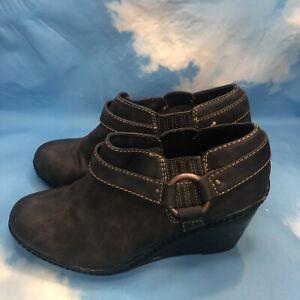 Dr Scholls Blake Charcoal Gray BLK Faux Leather Booties Wedge Heel Zip Up 9.5 M
