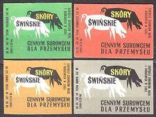 POLAND 1969 Matchbox Label - Cat.Z#959 set, Pigskin, a valuable raw material ...