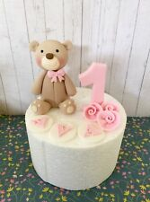 Edible Cute Baby Bear Cake Topper Number Name For First Birthday Cake