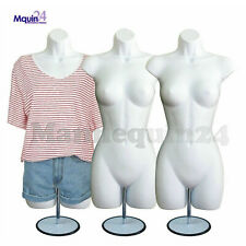 3 White Female Mannequin Torsos w/3 Metal Stands + 3 Hooks -Women'S Dress Forms