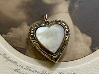 Antique Vintage Gold Filled Heart Shaped Locket Pendant Charm w Mother Of Pearl