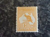 AUSTRALIA POSTAGE STAMP SG6 4D DIE II ORANGE 1913 UN-MOUNTED MINT