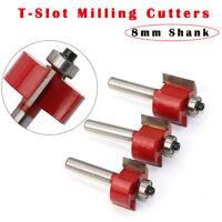 8mm Schaft T Slot Slotting & Rabbeting Fräser Holzbearbeitung Schneidewerkzeuge