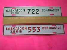 1988 1989 MINT Saskatchewan Contractor  License Plates 722 And 553
