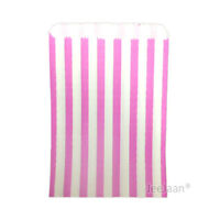 """100 PINK CANDY STRIPED PAPER PARTY GIFT SWEET BAGS 5"""" x 7"""" - CANDY CART WEDDING"""