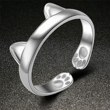 Silver Plated Cat Ear Ring Design Cute Fashion Jewelry Cat Ring For WomenEC