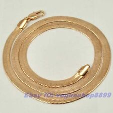 "20.5""5mm19g Real Unique 18K Rose Gold Gp Herringbone Necklace Solid Chain 4414n"