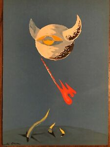 """Andre Masson Original Lithograph """"The Moon"""" 1938 Mourlot Plate Signed"""