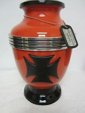 319 Biker Motorcycle Orange Maltese Cross Memorial Cremation Urn-FREE Engraving