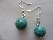 Turquoise Drop/Dangle Round Stone Costume Earrings