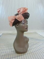 The Fashion Of Houston vintage 30s 40s brown straw Hat pink taffeta bow
