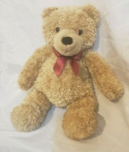 Vintage Plush Gund Stuffed teddy bear 5083 light brown with red bow