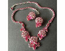 Sherman Swarovski Rhinestone Fuschia Pink Necklace & Earrings Set