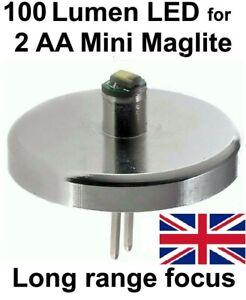 MINI MAGLITE LED UPGRADE UpLED Conversion 2 AA 1 watt Torch Bulb
