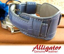 Leather Genuine Alligator Crocodile Watch Strap 20mm Blue Band Bund Men Cuff