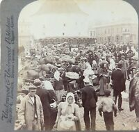 .FINLAND 1897, VIBORG MARKET PLACE, UNDERWOOD STEREOVIEW CARD.