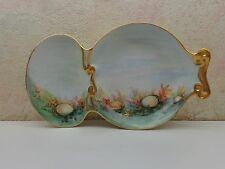 T&V Tressemann Vogt Limoges Hand Painted Divided Fish Seafood Plate Candy Dish