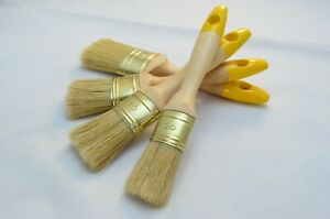 60 to 30 Oval Paint Brush Set of 4, Shabby Chic Paint, 100% Natural Pure Bristle