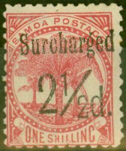 Samoa 1898 2 1/2d on 1s Dull Rose-Carmine SG86 Fine Mtd Mint (15)