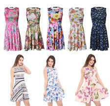 New Womens Ladies Sleeveless Printed Skater Swing Party Dress Plus Size UK 8-26