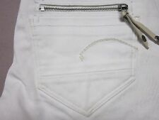 G STAR RAW WOMENS RARE SUPER SKINNY SLIM BIKER MOTO WHITE JEANS SIZE 26x34 NEW