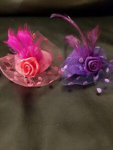 2 x Witzige Hut - Haarspangen 7 cm Durchmesser als Clip, lila & pink