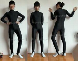 Kid Adult Unisex Dancewear Long Sleeve Turtleneck Stirrup Foot Spandex Unitard