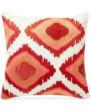 "SET of 2 Lucky Brand 20"" x 20"" Square Decorative Pillow Embroidered Ikat A99085"