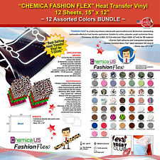 "CHEMICA FASHION FLEX HEAT TRANSFER VINYL, 12 SHEETS, 15""x12"", 12 ASSORTED COLORS"
