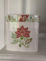 Ceramic White Pink Ikat Tissue Box Cover Holder