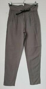 Ladies high Waist Trousers In Slate Viscose/Linen/Cotton 2YK W28 L31 TL18