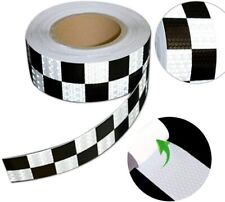Black & White 50mm Chequered Reflective Conspicuity Safety Adhesive Tape 1-20m